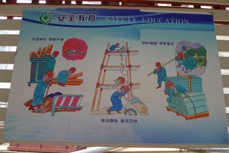 Chantier de construction gratte-ciel shanghai pancarte sécurité
