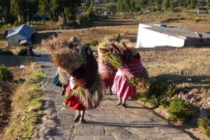Femmes portant du ble Ile Amantani lac Titicaca
