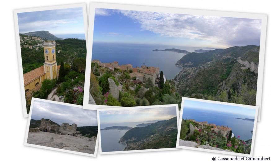 La vue sur le village d'Eze et sur la mer depuis les ruines du chateau
