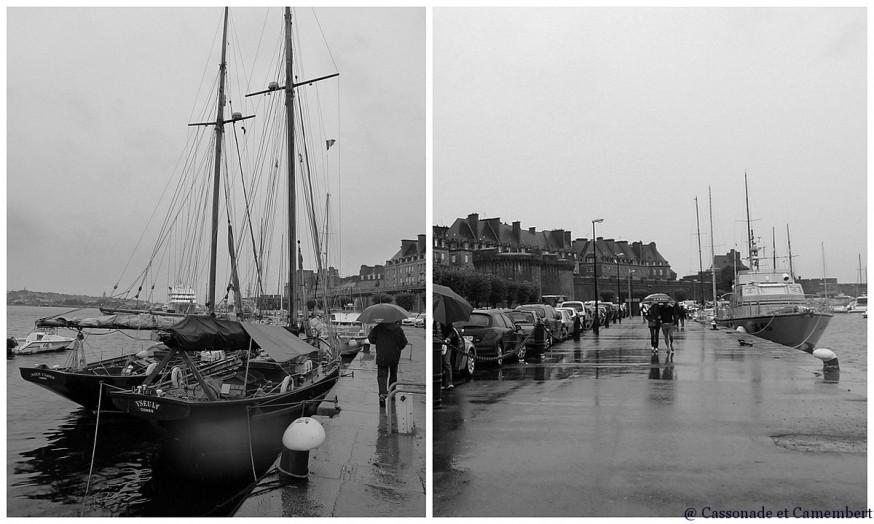 Port et remparts Saint Malo noir et blanc