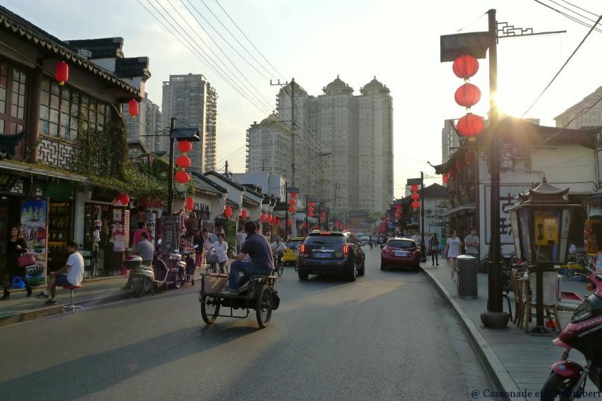 Fin de journee vieille rue shanghai