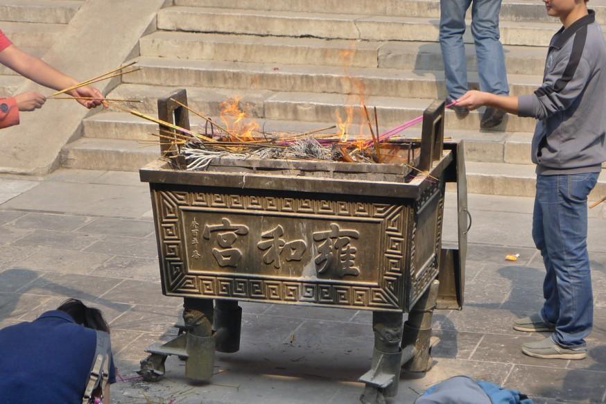 Brule encens temple des lamas pekin