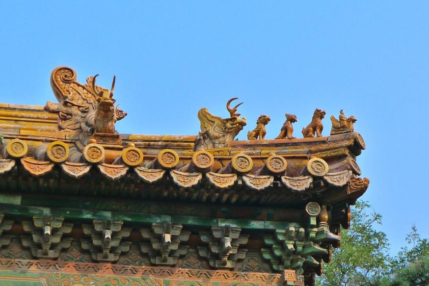 Detail toiture temple des lamas pékin