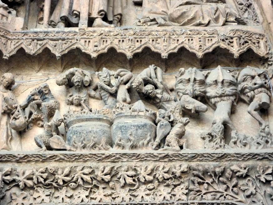 Detail tympan Jugement Dernier - Cathedrale de Leon - Compostelle Castille