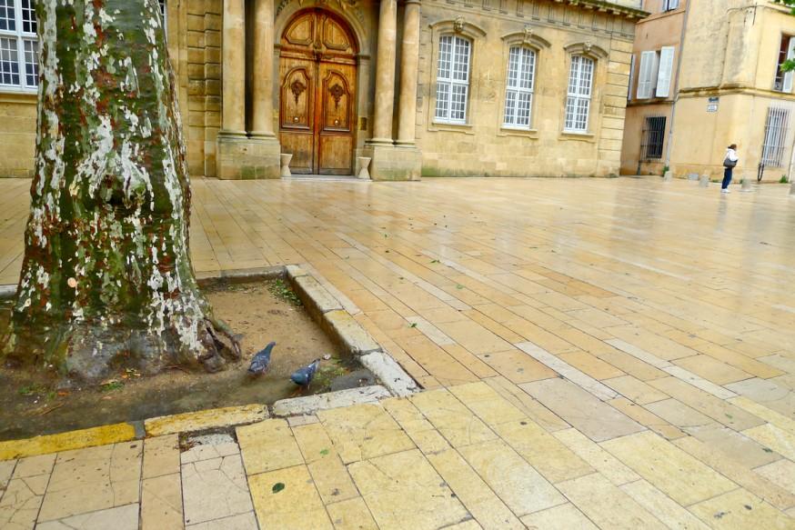 Pavés sous la pluie - Marché à Aix-en-Provence