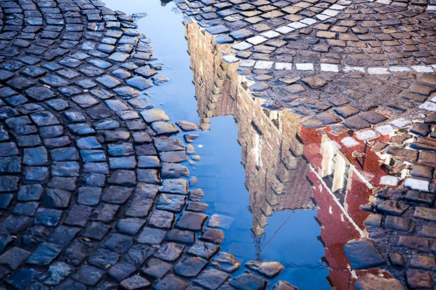 Bruges - Reflets sur les pavés